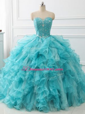Customized Aqua Blue Sweetheart Lace Up Beading and Ruffles Quinceanera Gowns Brush Train Sleeveless