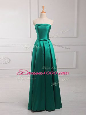 Sleeveless Floor Length Belt Lace Up Wedding Guest Dresses with Dark Green