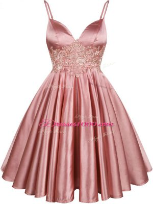 Nice Spaghetti Straps Sleeveless Lace Up Bridesmaids Dress Pink Elastic Woven Satin