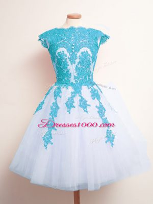 Knee Length Blue And White Bridesmaid Gown Scalloped Sleeveless Lace Up