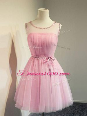 Pretty Rose Pink Empire Scoop Sleeveless Tulle Knee Length Lace Up Belt Wedding Party Dress