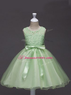 Great Yellow Green Sleeveless Tulle Zipper Child Pageant Dress for Wedding Party