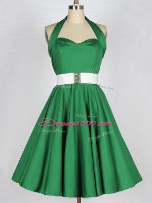 Halter Top Sleeveless Wedding Guest Dresses Mini Length Belt Green Satin