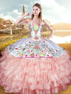 Sweetheart Sleeveless Quinceanera Dress Floor Length Embroidery and Ruffled Layers Peach Organza and Taffeta