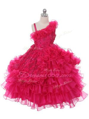 Superior Ball Gowns Little Girls Pageant Gowns Hot Pink Asymmetric Organza Sleeveless Floor Length Lace Up