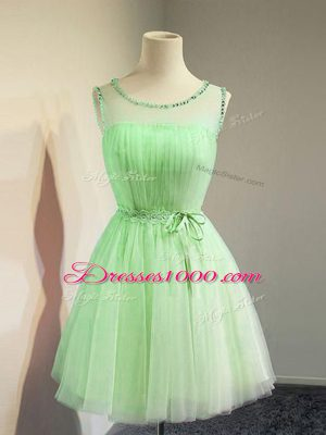 Pretty Scoop Sleeveless Lace Up Bridesmaid Dresses Tulle