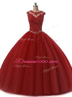 High Class Burgundy Ball Gowns Scoop Sleeveless Tulle Floor Length Lace Up Beading and Lace 15th Birthday Dress