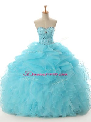 Hot Selling Aqua Blue Ball Gowns Organza Sweetheart Sleeveless Beading and Ruffled Layers Floor Length Lace Up Quince Ball Gowns