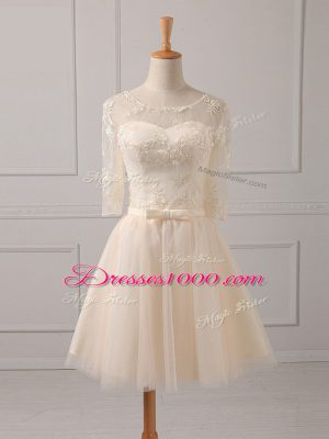 On Sale Champagne Quinceanera Court Dresses Prom and Party and Wedding Party with Lace and Belt Scoop Half Sleeves Lace Up