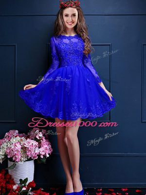 Inexpensive Blue Scalloped Neckline Beading and Lace and Appliques Bridesmaid Dress 3 4 Length Sleeve Lace Up