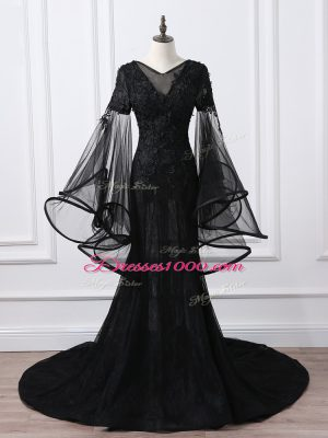 Black Mother of the Bride Dress Scoop Long Sleeves Brush Train Lace Up