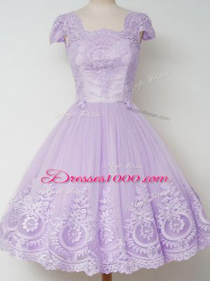 Unique Square Cap Sleeves Zipper Bridesmaid Dresses Lavender Tulle