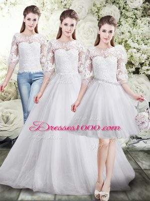 Vintage White Tulle Lace Up Scoop Half Sleeves Floor Length Wedding Dresses Lace