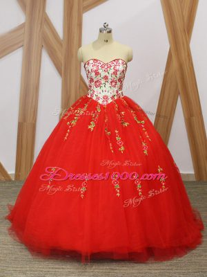 Suitable Red Tulle Lace Up Sweetheart Sleeveless 15 Quinceanera Dress Sweep Train Embroidery and Ruffled Layers