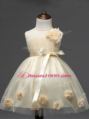 Champagne Flower Girl Dresses for Less Wedding Party with Hand Made Flower Scoop Sleeveless Zipper