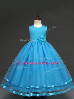 Low Price Floor Length Zipper Toddler Flower Girl Dress Baby Blue for Wedding Party with Hand Made Flower