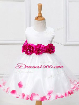 New Style Appliques and Hand Made Flower Flower Girl Dresses White Zipper Sleeveless Knee Length
