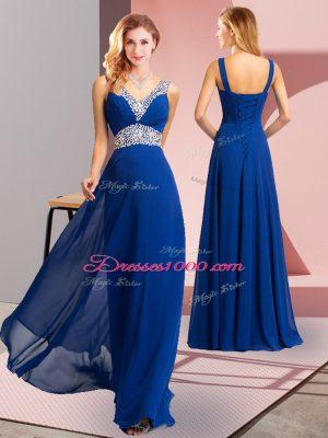 Hot Selling Royal Blue V-neck Lace Up Beading Prom Dresses Sleeveless