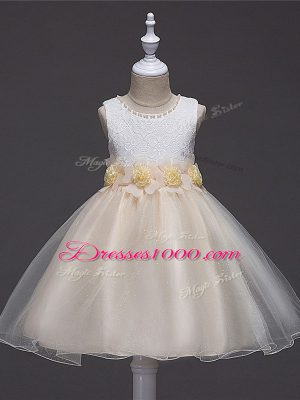 Scoop Sleeveless Flower Girl Dresses Knee Length Lace and Hand Made Flower Champagne Tulle