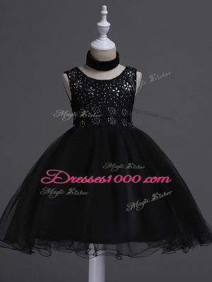Colorful Scoop Sleeveless Flower Girl Dresses Knee Length Beading and Lace Black Organza