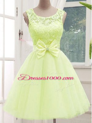 High Quality Yellow Green A-line Tulle Scoop Sleeveless Lace and Bowknot Knee Length Lace Up Wedding Guest Dresses