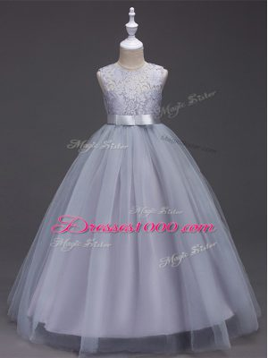 Sleeveless Zipper Floor Length Lace Flower Girl Dress