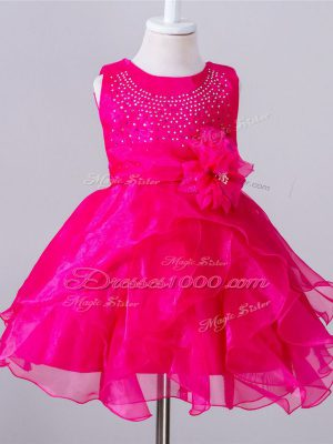 Fantastic Scoop Sleeveless Flower Girl Dresses Knee Length Beading and Hand Made Flower Hot Pink Organza