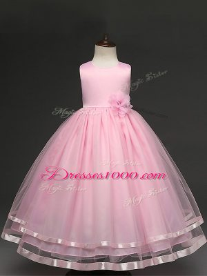High Class Baby Pink Sleeveless Floor Length Hand Made Flower Zipper Child Pageant Dress