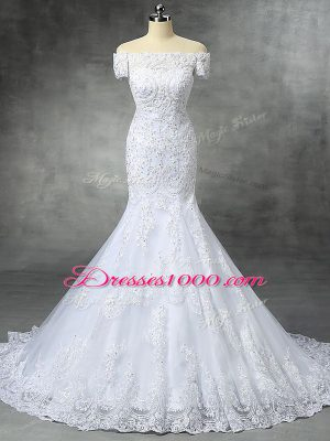 Admirable Sleeveless Lace Brush Train Zipper Wedding Dress in White with Beading and Lace and Appliques