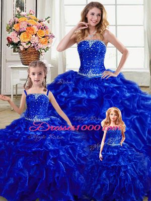 Royal Blue Strapless Lace Up Beading and Ruffles Sweet 16 Quinceanera Dress Sleeveless