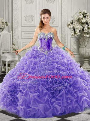 Organza Sweetheart Sleeveless Court Train Lace Up Beading and Ruffles Quinceanera Gowns in Lavender