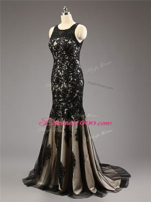 Lace and Appliques Homecoming Dress Black Zipper Sleeveless Brush Train