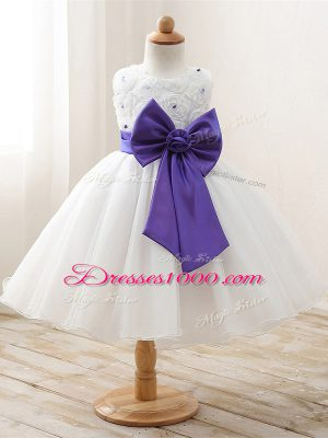 Lovely Organza Sleeveless Floor Length Flower Girl Dresses for Less and Bowknot