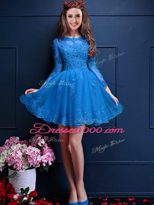 3 4 Length Sleeve Mini Length Beading and Lace and Appliques Lace Up Court Dresses for Sweet 16 with Teal