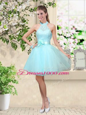 Aqua Blue A-line Halter Top Sleeveless Tulle Knee Length Lace Up Lace and Belt Wedding Guest Dresses