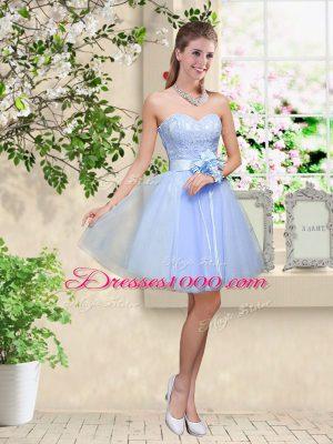 Knee Length Lavender Dama Dress Tulle Sleeveless Lace and Belt