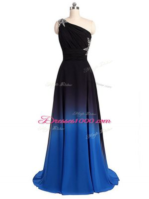 Most Popular Multi-color Prom Dress One Shoulder Sleeveless Brush Train Lace Up