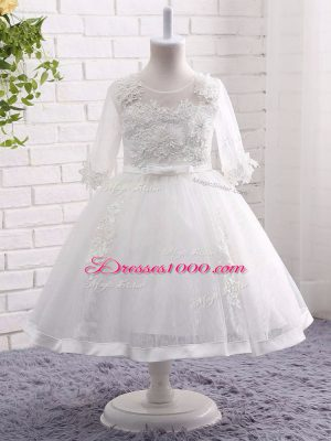 Modern Ball Gowns Toddler Flower Girl Dress White Scoop Lace Short Sleeves Tea Length Zipper