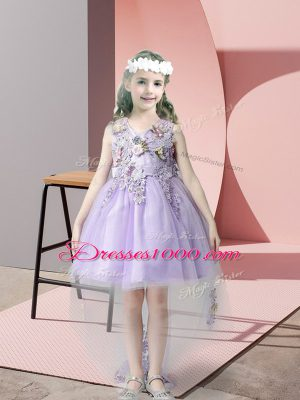 Modern Lavender Sleeveless Tulle Zipper Flower Girl Dresses for Wedding Party