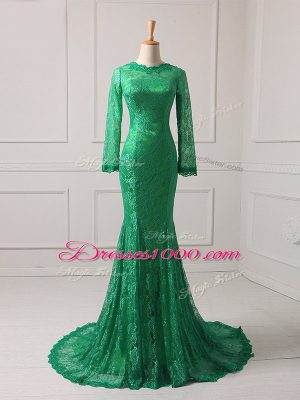 Fantastic Long Sleeves Brush Train Zipper Lace Mother of Bride Dresses