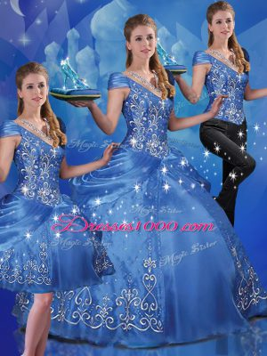 Blue Three Pieces Beading and Embroidery Quinceanera Dress Lace Up Organza Cap Sleeves Floor Length