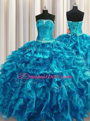 Teal Ball Gowns Beading and Ruffles Quinceanera Gown Lace Up Organza Sleeveless Floor Length