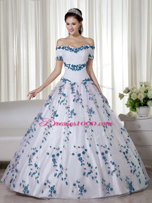Artistic Embroidery 15 Quinceanera Dress White Lace Up Short Sleeves Floor Length
