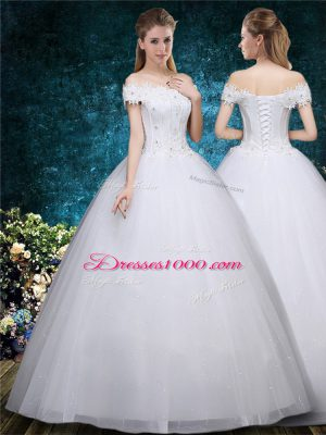 White Lace Up Bridal Gown Beading and Appliques Cap Sleeves Floor Length