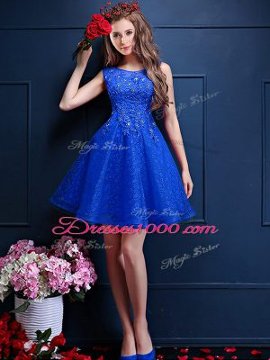 Trendy Royal Blue Bateau Neckline Beading and Lace Wedding Party Dress Sleeveless Lace Up