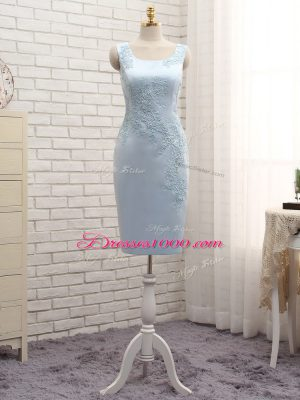 Light Blue Straps Zipper Lace and Appliques Mother of Groom Dress Sleeveless