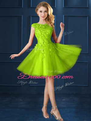 Attractive Yellow Green Cap Sleeves Lace and Appliques Knee Length Court Dresses for Sweet 16