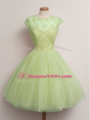 Yellow Green Ball Gowns Tulle Scoop Cap Sleeves Lace Knee Length Lace Up Damas Dress