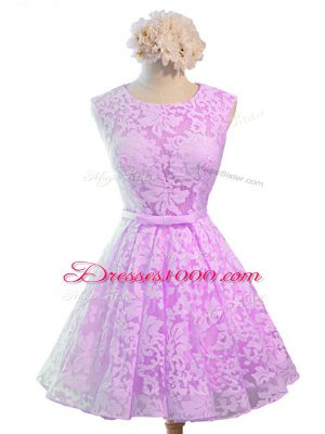 Most Popular Lilac Sleeveless Lace Lace Up Wedding Guest Dresses for Prom and Party and Wedding Party