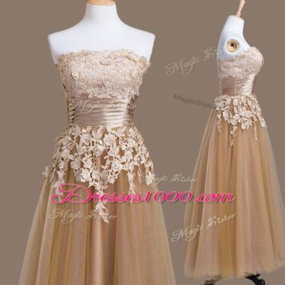 Customized Empire Court Dresses for Sweet 16 Brown Strapless Tulle Sleeveless Tea Length Lace Up